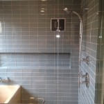 Blue glass shower tile in Custom bathroom remodel Encinitas CA