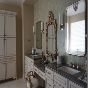 Granite counter tops for His and Her bathroom with tile backsplash
