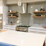 new residential build contemporary kitchen glass tile backsplash stainless steel floating shelves