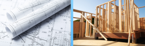 blue prints and house framing