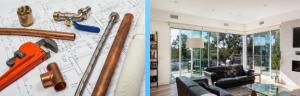 home renovation, blue prints and interior